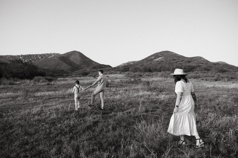 family of 3 sunset session ramona california mountain